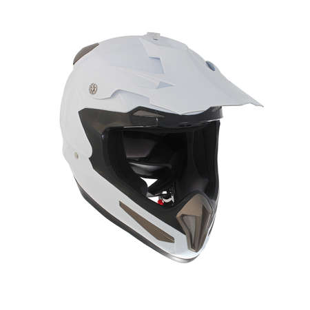 High quality light white motocross motorcycle helmet Isolated on white background photo