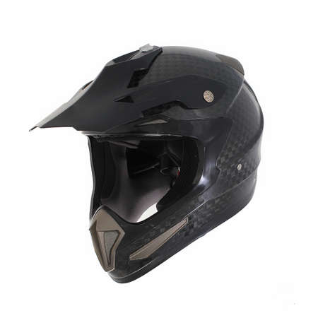 casque: Motocross motorcycle helmet Isolated on white background, black, shiny carbon fiber. Stock Photo