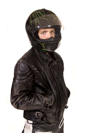 crash helmet: Teenage Boy Wearing A Crash Helmet and Leather jacket