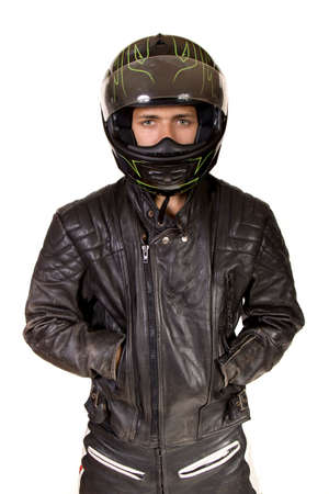 crash helmet: Teenage Boy Wearing A Crash Helmet And Leather Jacket Stock Photo