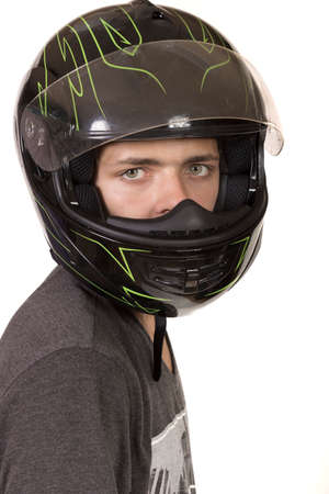 crash helmet: Teenage Boy Wearing A Crash Helmet Stock Photo