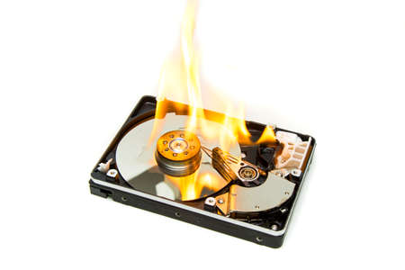 A Hard Disk Drive On Fire Stock Photo