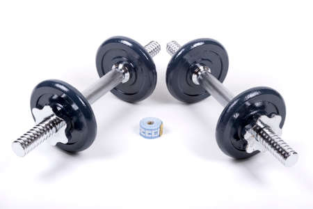 tricep: Dumbbells For Weight Training Stock Photo