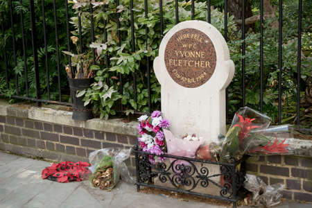 17th: London, United Kingdom - June 5th, 2016: The memorial to WPC Yvonne Fletcher, shot outside the Libyan embassy in London 17th April 1984 Editorial