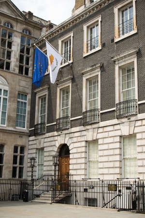 diplomatic: London, United Kingdom - June 5th, 2016: The Cyprus High Commission to the United Kingdom, located at 13 St. James's square.