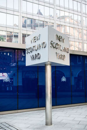 westminster city: London, United Kingdom - June 5th, 2016: Sign for New Scotland Yard, City of Westminster, London. New Scotland yard moved to its current location in 1967. Editorial
