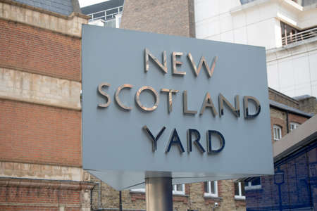 policing: London, United Kingdom - June 5th, 2016: Sign for New Scotland Yard, City of Westminster, London. New Scotland yard moved to its current location in 1967. Editorial