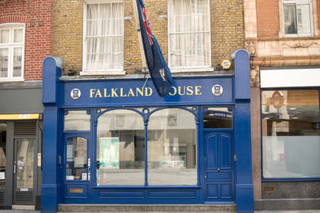 overseas: London, United Kingdom - June 5th, 2016: The Government of the Falkland Islands UK Office. The Falklands a British Overseas Territory has its office at 14 Broadway. Editorial