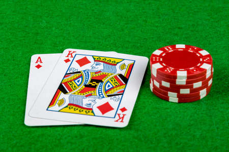 Blackjack hand 21 with betting chips