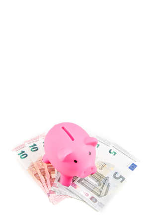 Piggybank standing on five and ten Euro banknotes