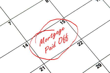Hipoteca cancelada en un calendario en rojo