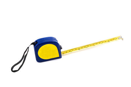 centimetres: Metal tape measure isolated on a white background