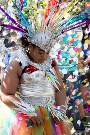 London, United Kingdom - August 27, 2017. Notting Hill Carnival one of the largest street parties in Europe is now in its 51st year. This year was close to the ruin of Grenfell Tower scene of a devastaing fire. Editorial
