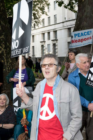 antiwar: London, 28th September 2017:- Protesters gather in Whitehall, opposite Downing Street, to protest the growing tensions between North Korea and the USA Editorial