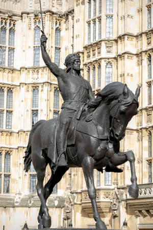 London, 28th September 2017:-Statue of King Richard 1st at the Palace of Westminser