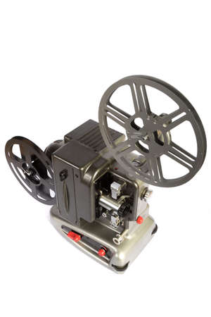 A retro home movie projector dirty from storage isolated on a white background