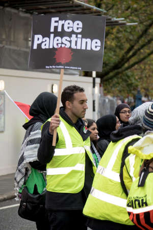 4th November 2017, London, United Kingdom:-Pro Palestine demonstrators march through London against the Balfour declaration of 1917 and the on going Israeli occupation