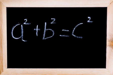 Blackboard with Pythagoras theorem written on it