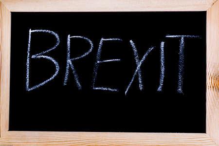 Blackboard with Brexit written on it Stock Photo