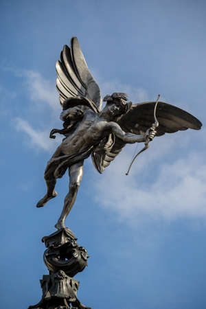 London, United Kingdom, 18th Febuary 2018:- Statue of Anteros often mistaken for Eros on the Shaftesbury Memorial Fountain in Piccadilly Circus