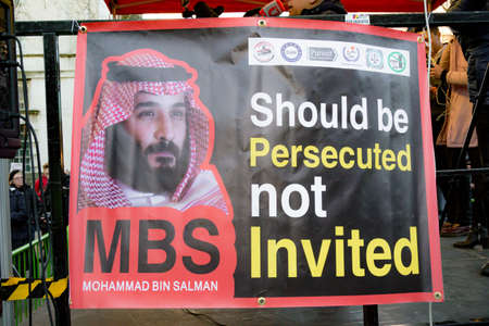 Downing Street, London, United Kingdom, 07th March 2018:- Protesters gather outside Downing Street in central London to voice opposition to the visit of Mohammad bin Salman to the UK over Saudi Arabia's role in the war in neighbouring Yemen