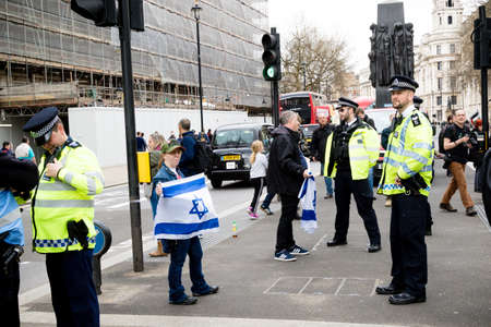 London, United Kingdom, 7st April 2018:- Pro Israel Protesters gather outside Downing Street in London to counter protest the Pro Palestinian protest due to killings by the Israeli army during of the Great Return March in Gaza