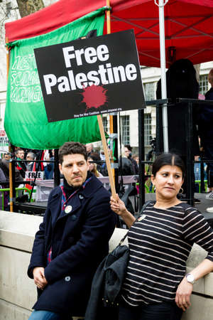 London, United Kingdom, 7st April 2018:- Protesters gather outside Downing Street in London to protest the recent killings of Palestinians in Gaza by the Israeli  army during of the Great Return March Editorial