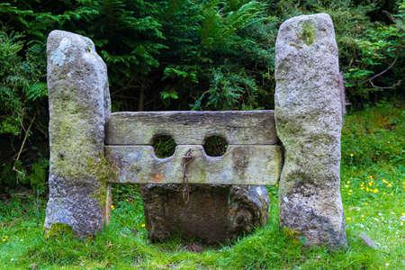 Stocks in the village of Belstone in Dartmoor National Park