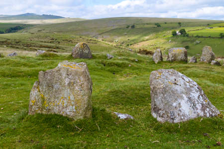 The 9 Maidens Standing Stone Circle in Dartmoor National Park Stock Photo