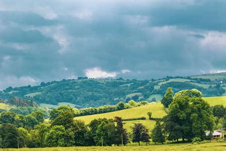 A view of the farmland inside Dartmoor National Park, Devon, United Kingdom Stock Photo
