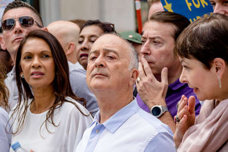 London, United Kingdom, 23rd June 2018:- Caroline Lucas, Green Party MP and Actor Sir Tony Robinson march for a People's Vote on the UK Brexit deal