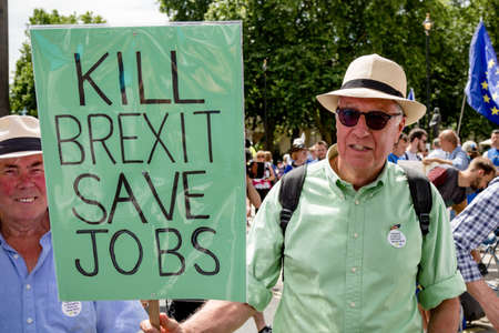 London, United Kingdom, 23rd June 2018:- The March for a People's Vote in Central London demanding a vote on the final deal on Britain's exit from the EU