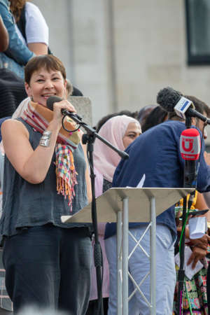 London, United Kingdom, 13th July 2018: Caroline Lucas MP, co-leader of the Green party of England and Wales speaks at an anti Trump rally in central London