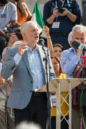 London, United Kingdom, 13th July 2018: Jeremy Corbyn MP, leader of the Labour party speaks at an anti trump rally in central London