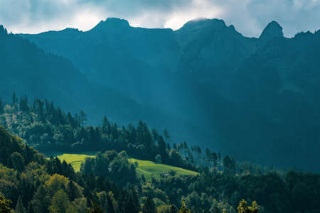 View of the landscape in the Alpine Principality of Liechtenstein Stock Photo