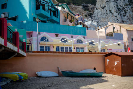 Gibraltar, United Kingdom, 2nd October 2018:- Colourful buildings along the seafront in Catalan Bay, Gibraltar. Gibraltar is a British Overseas Territory located on the southern tip of Spain. Redactioneel
