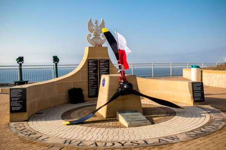 Gibraltar, United Kingdom, 2nd October 2018:-Sikorski Memorial to the death of the Prime Minister of the Polish Government in Exile during world war 2, Europa Point, Gibraltar. Gibraltar is a British Overseas Territory located on the southern tip of Spain Editöryel