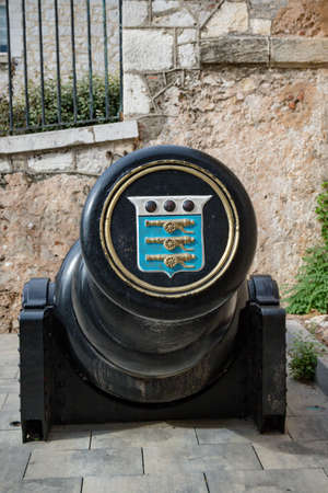 Gibraltar, United Kingdom, 30th September 2018:- A large canon at the end of Main Street in Gibraltar. Gibraltar is a British Overseas Territory located on the southern tip of Spain.