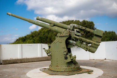 Gibraltar, United Kingdom, 3rd October 2018:- Anti Aircraft battery, near Rosia Bay, Gibraltar Gibraltar is a British Overseas Territory located on the southern tip of Spain.