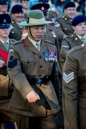 Sandhurst, United Kingdom, 11th November 2018:- British Soldiers from the Gurkhas march to Sandhurst War Memorial on the 100th Anniversary of the Armistice that ended the First World War