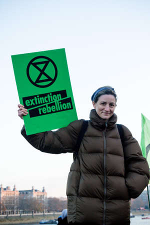 London, United Kingdom, November 17th:- Extinction Rebellion protesters block Westminster Bridge in central London to protest the current environmental emergency Editorial