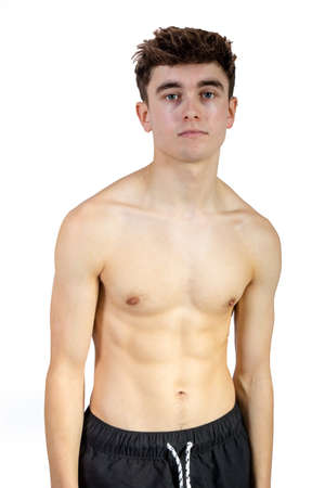 Portrait of a caucasian fit shirtless young adult Foto de archivo