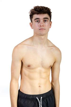 Retrato, de, un, caucásico, ajuste, shirtless, adulto joven