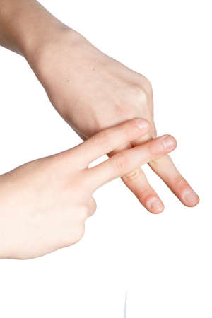 Caucasian hand doing British Sign Language  showing the symbol for F