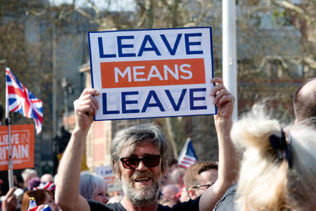 London, United Kingdom, March 29th 2019:- Pro Brexit protesters outside the British Parliament demanding a No Deal Brexit leaving on WTO terms
