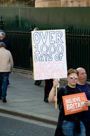 London, United Kingdom, March 29th 2019:- Pro Brexit marchers outside the British Parliament on the day the UK should have left the EU