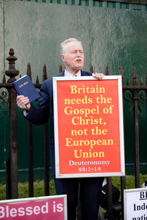 London, United Kingdom, March 29th 2019:- A street preacher on Christian values in the UK