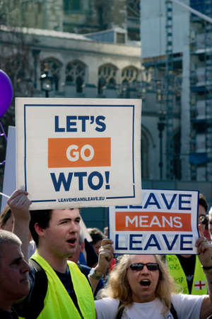 London, United Kingdom, March 29th 2019:- Pro Brexit protesters outside the British Parliament demanding a No Deal Brexit leaving on WTO terms 스톡 콘텐츠 - 119861470