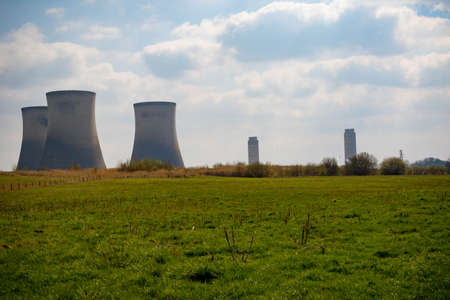 Didcot, United Kingdom, March 28th 2019:- The cooling towers of Didcot  Power Station in Oxfordshire due to be demolished summer 2019 Redakční