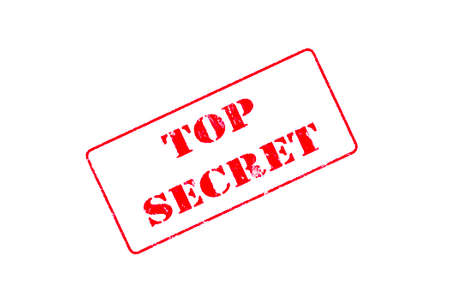 Rubber stamp concept showing a red stamp reading Top Secret